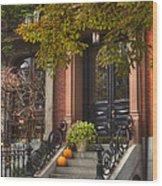 Beacon Hill Doorway Wood Print