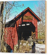 Bean Blossom Bridge Wood Print by Beverly Cazzell