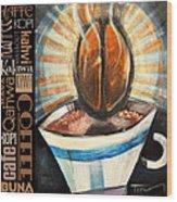 Bean Coffee Languages Poster Wood Print