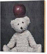 Bear And Apple Wood Print