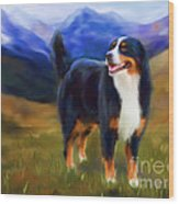 Bear - Bernese Mountain Dog Wood Print by Michelle Wrighton