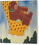 Bear Loved Flying Over The Forest In His Favorite Chair Wood Print