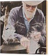 Bearded Miner Making Billy Tea Wood Print