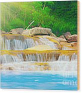 Beautiful Cascade Fall In Tropical Forest Wood Print
