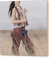 Beautiful Cowgirl Wood Print by Cindy Singleton