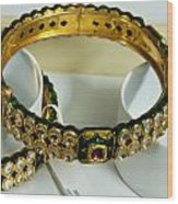 Beautiful Green And Purple Covered Gold Bangles With Semi-precious Stones Inlaid Wood Print