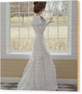 Beautiful Lady By Window Wood Print