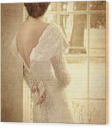 Beautiful Lady In Sequin Gown Looking Out Window Wood Print