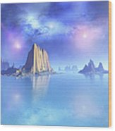 Beautiful Night Scene Of The Ocean Wood Print