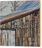 Beautiful Old Barn With Horns Wood Print