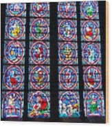 Beautiful Stained Glass At Notre Dame Cathedral Wood Print