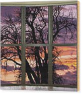 Beautiful Sunset Bay Window View Wood Print