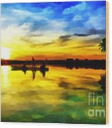 Beautiful Sunset Wood Print by Vidka Art