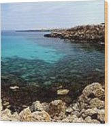 Beautiful View On Mediterranean Sea Cape Gkreko In Cyprus Wood Print