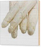 Beautiful White Jumbo Asparagus Close Up Shoot  Wood Print