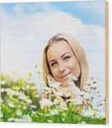 Beautiful Woman Enjoying Daisy Field And Blue Sky Wood Print by Anna Om