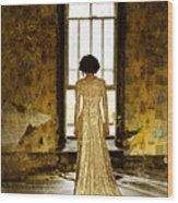 Beautiful Woman In Lace Gown In Abandoned Room Wood Print