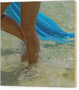 Beautiful Woman Legs In The Crystal Water Wood Print