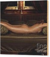 Beautiful Woman Sleeping Naked Wood Print