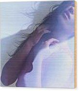 Beauty Photo Of A Woman In Shining Blue Settings Wood Print
