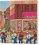 Beauty's Restaurant-montreal Street Scene Painting-hockey Game-hockeyart Wood Print