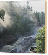 Beaver River Fog4 Wood Print