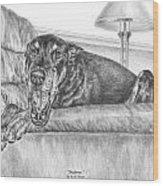 Bedtime - Doberman Pinscher Dog Art Print Wood Print by Kelli Swan