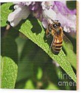 Bee At Work Wood Print by Kaye Menner