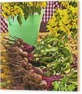 Beets And Sunflowers Wood Print