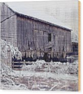 Behind The Barn Wood Print by Kathy Jennings