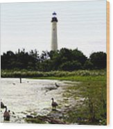 Behind The Cape May Lighthouse Wood Print by Bill Cannon