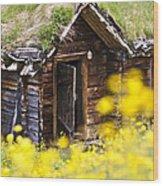 Behind Yellow Flowers Wood Print