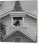 Bell Tower In Black And White Wood Print