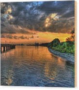 Sunset At Belle Isle Pier Detroit Mi Wood Print