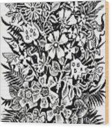 Bells And Cornflowers Wood Print