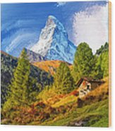 Below The Matterhorn Wood Print