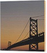Ben Franklin Bridge Sunrise Wood Print