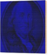 Ben Franklin In Blue Wood Print