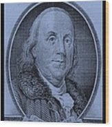 Ben Franklin In Cyan Wood Print