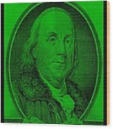 Ben Franklin In Green Wood Print
