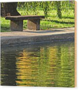 Bench And Reflections In Tower Grove Park Wood Print