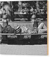 Bench Bums In Black And White Wood Print