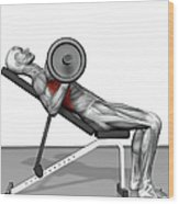 Bench Press Incline (part 2 Of 2) Wood Print