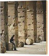 Beneath The Colosseum Wood Print