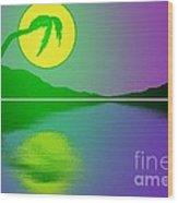 Bent Palm Sunrise Wood Print