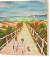 Beth And Johnny At The Beach Wood Print