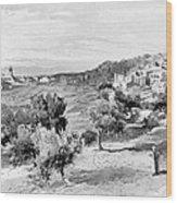 Bethlehem City In Black And White Wood Print