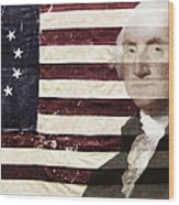 Betsey And George Flag Wood Print