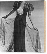 Bette Davis Wearing Black Taffeta Gown Wood Print