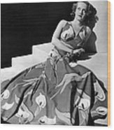 Bette Davis Wearing Gown With Calla Wood Print